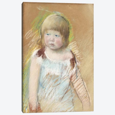 Child With Bangs In A Blue Dress, c.1910 Canvas Print #BMN8041} by Mary Stevenson Cassatt Canvas Artwork