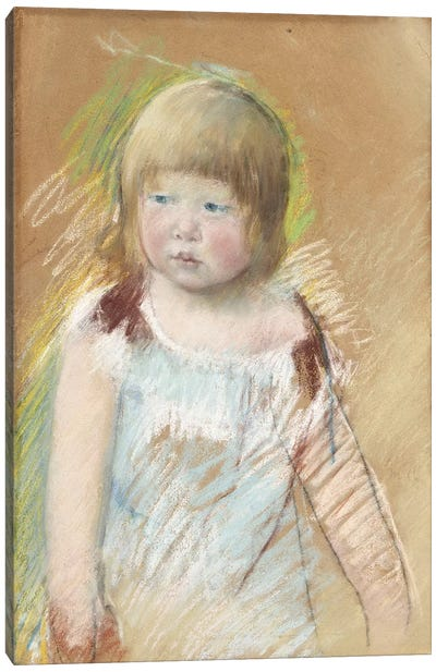 Child With Bangs In A Blue Dress, c.1910 Canvas Art Print