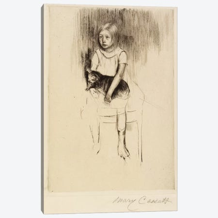 Ellen Holding A Cat, Looking Left, c.1887 Canvas Print #BMN8045} by Mary Stevenson Cassatt Art Print
