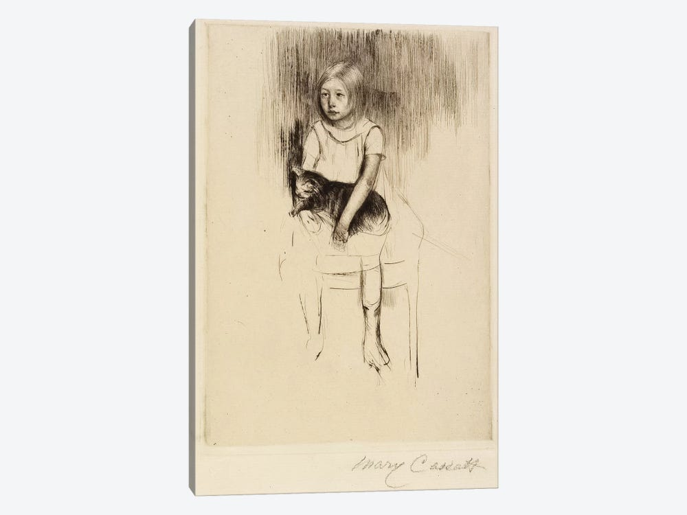 Ellen Holding A Cat, Looking Left, c.1887 by Mary Stevenson Cassatt 1-piece Canvas Art Print