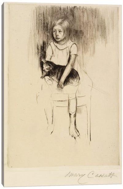 Ellen Holding A Cat, Looking Left, c.1887 Canvas Art Print