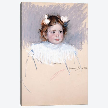 Ellen With Bows In Her Hair, Looking Right, 1899 3-Piece Canvas #BMN8047} by Mary Stevenson Cassatt Canvas Print