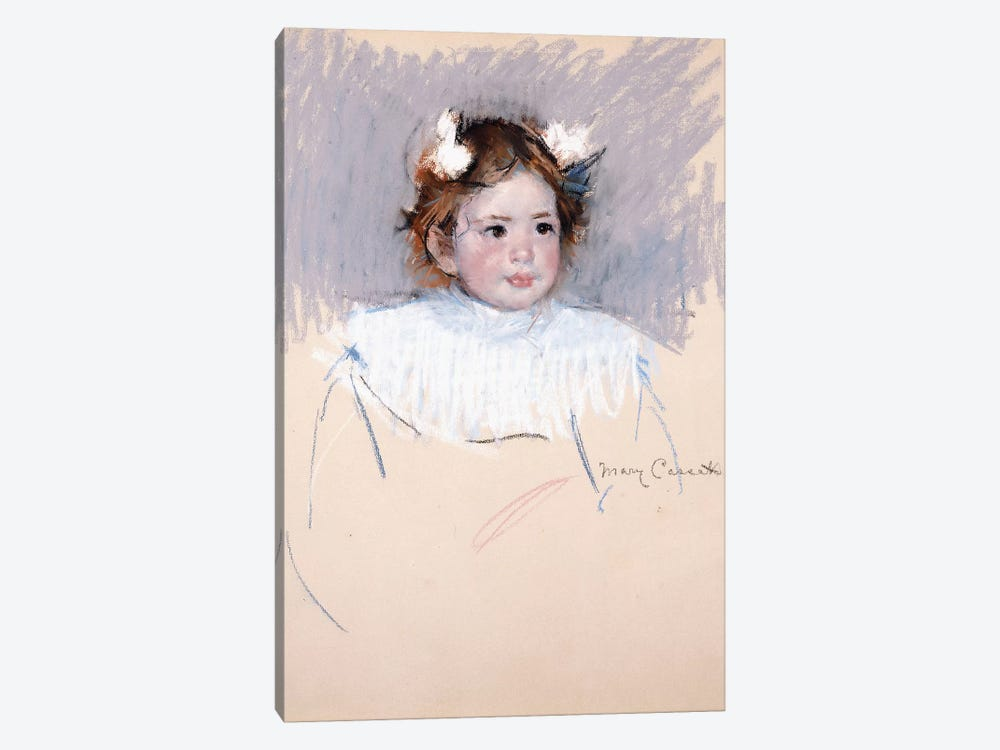 Ellen With Bows In Her Hair, Looking Right, 1899 by Mary Stevenson Cassatt 1-piece Canvas Art Print