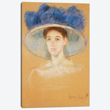 Head Of A Woman With A Large Hat, c.1909 Canvas Print #BMN8050} by Mary Stevenson Cassatt Canvas Art Print