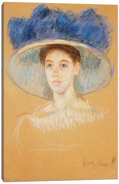 Head Of A Woman With A Large Hat, c.1909 Canvas Art Print