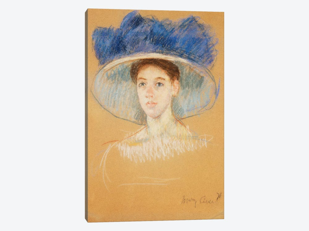 Head Of A Woman With A Large Hat, c.1909 by Mary Stevenson Cassatt 1-piece Canvas Print