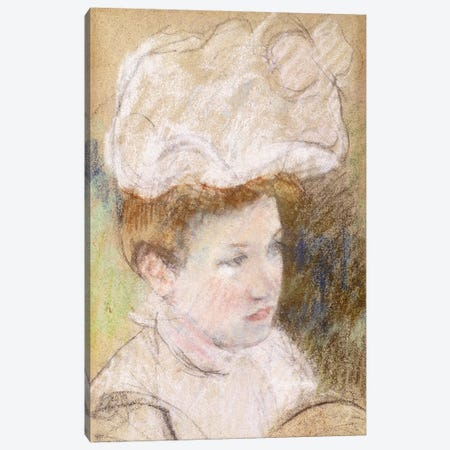 Leontine In A Pink Fluffy Hat, 1898 Canvas Print #BMN8053} by Mary Stevenson Cassatt Canvas Print
