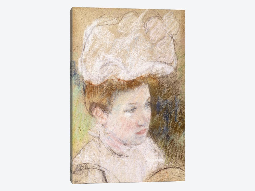 Leontine In A Pink Fluffy Hat, 1898 by Mary Stevenson Cassatt 1-piece Canvas Wall Art