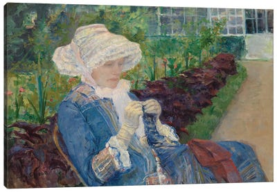 Lydia Crocheting In The Garden At Marly, 1880 Canvas Art Print