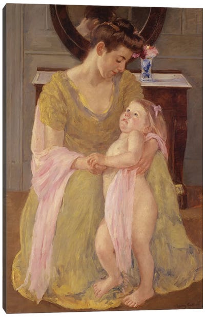 Mother And Child With A Rose Scarf, c.1908 Canvas Art Print