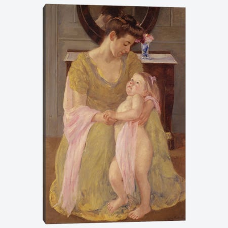 Mother And Child With A Rose Scarf, c.1908 Canvas Print #BMN8064} by Mary Stevenson Cassatt Art Print