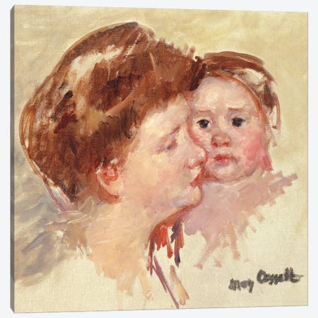 Mother In Profile With Baby Cheek To Cheek (No.2), c.1909 3-Piece Canvas #BMN8068} by Mary Stevenson Cassatt Canvas Art
