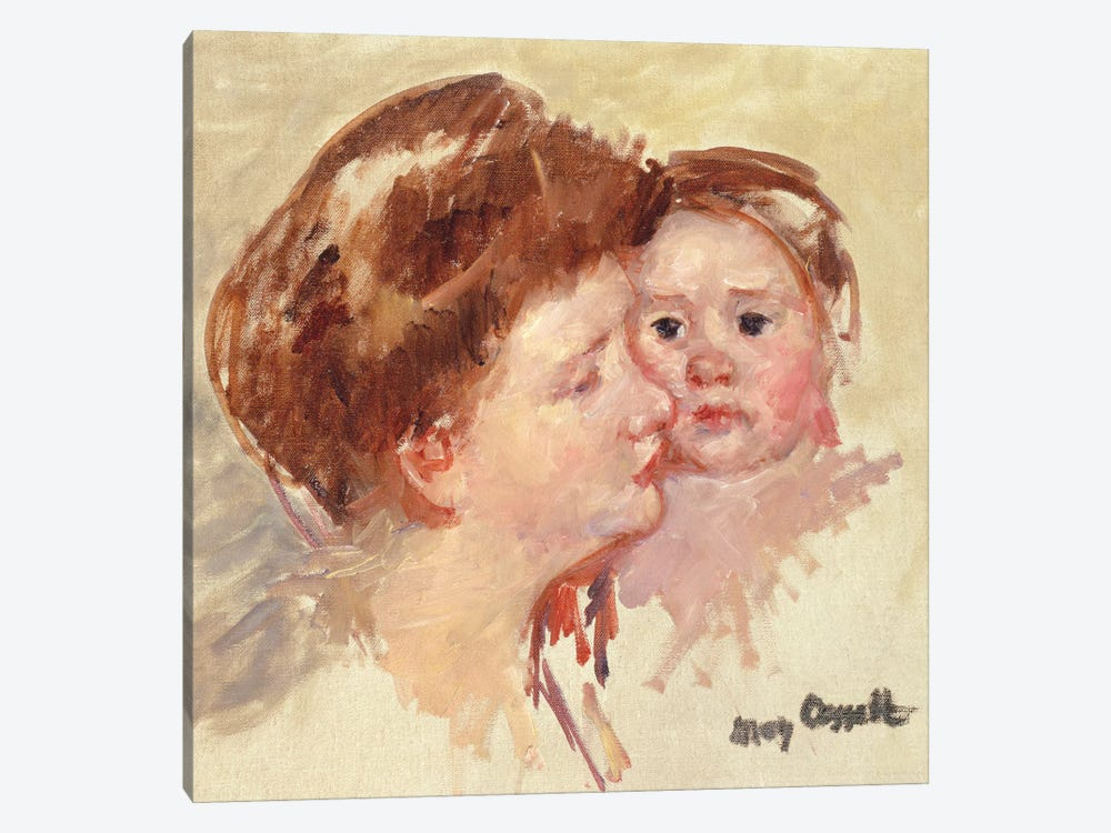 Mother In Profile With Baby Cheek To Cheek (No.2), c.1909 by Mary Stevenson Cassatt 1-piece Canvas Wall Art