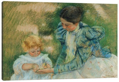 Mother Playing With Child, c.1897 Canvas Art Print