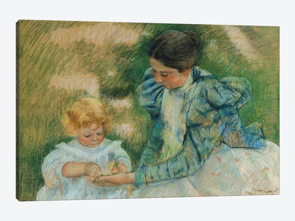 Mother Playing With Child, c.1897 by Mary Stevenson Cassatt 1-piece Canvas Art Print