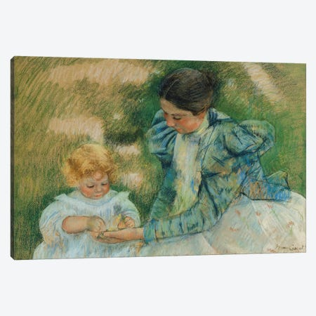Mother Playing With Child, c.1897 3-Piece Canvas #BMN8069} by Mary Stevenson Cassatt Canvas Artwork