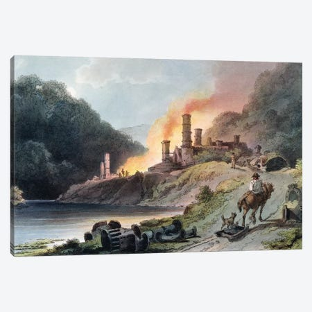 Iron Works, Coalbrookdale, engraved by William Pickett, c.1805  Canvas Print #BMN806} by Philippe de Loutherbourg Art Print