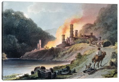 Iron Works, Coalbrookdale, engraved by William Pickett, c.1805  Canvas Art Print