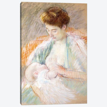 Mother Rose Nursing Her Child, c.1900 3-Piece Canvas #BMN8070} by Mary Stevenson Cassatt Art Print