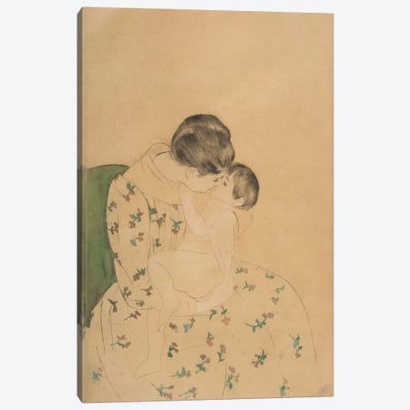 Mother's Kiss, c.1891 3-Piece Canvas #BMN8071} by Mary Stevenson Cassatt Canvas Art Print