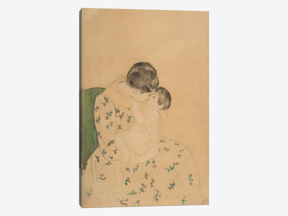 Mother's Kiss, c.1891 by Mary Stevenson Cassatt 1-piece Canvas Artwork