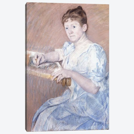 Mrs. Alexander J. Cassat In A Blue Evening Gown Seated At A Tapestry Frame 3-Piece Canvas #BMN8072} by Mary Stevenson Cassatt Canvas Art Print