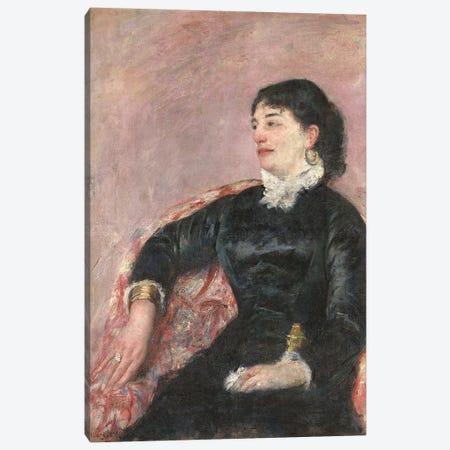 Portrait Of An Italian Lady Canvas Print #BMN8077} by Mary Stevenson Cassatt Canvas Wall Art