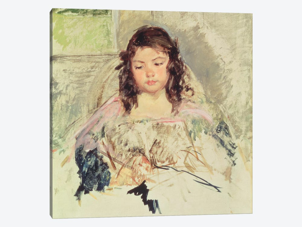 Sketch For 'Francoise In A Round-Backed Chair, Reading' Or 'A Girl In Pink' c.1908 by Mary Stevenson Cassatt 1-piece Canvas Wall Art