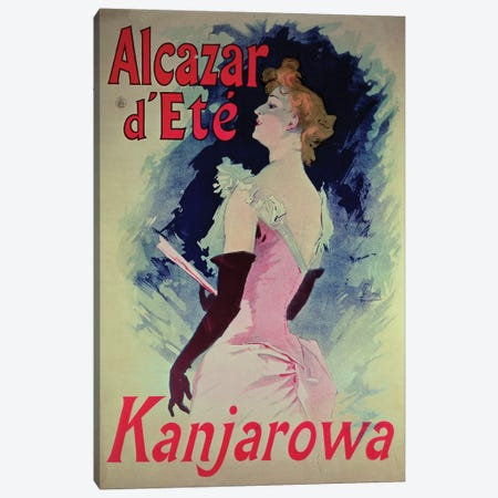 Alcazar d'Ete (Starring Kanjarowa) Advertisment Canvas Print #BMN808} by Jules Cheret Canvas Wall Art