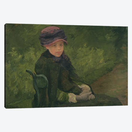 Susan Seated Outdoors Wearing A Purple Hat, c.1881 Canvas Print #BMN8091} by Mary Stevenson Cassatt Canvas Art Print