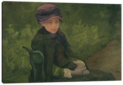 Susan Seated Outdoors Wearing A Purple Hat, c.1881 Canvas Art Print