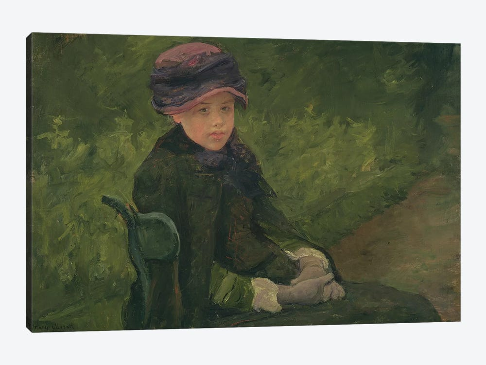 Susan Seated Outdoors Wearing A Purple Hat, c.1881 by Mary Stevenson Cassatt 1-piece Canvas Wall Art