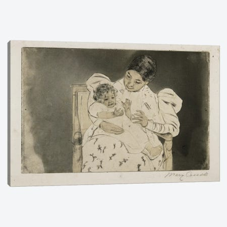 The Barefooted Child, C. 1896-97 3-Piece Canvas #BMN8092} by Mary Stevenson Cassatt Canvas Art Print