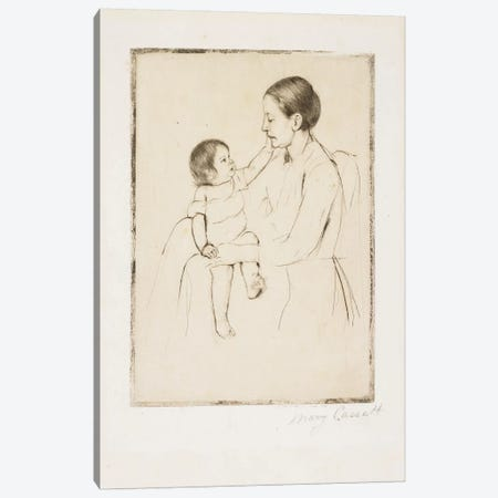 The Caress, C. 1891 Canvas Print #BMN8094} by Mary Stevenson Cassatt Canvas Artwork