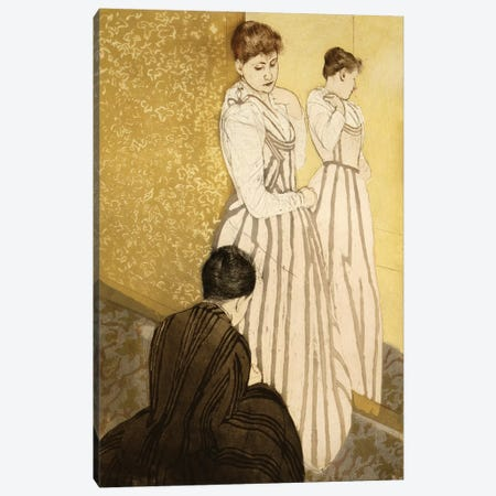 The Fitting (Colour Lithograph), Pub. 1891 3-Piece Canvas #BMN8097} by Mary Stevenson Cassatt Canvas Wall Art