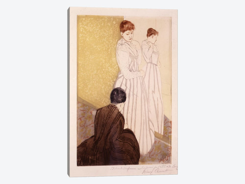 The Fitting (Ink & Charcoal) by Mary Stevenson Cassatt 1-piece Canvas Print