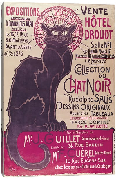Poster advertising an exhibition of the 'Collection du Chat Noir' cabaret at the Hotel Drouot, Paris, May 1898  Canvas Art Print