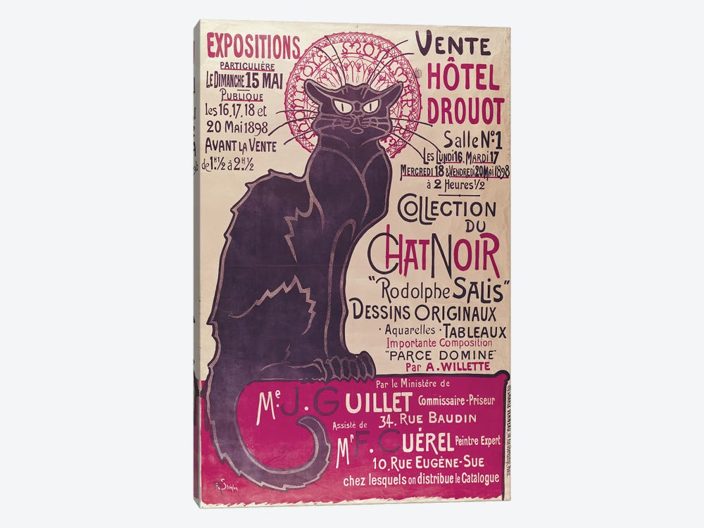 Poster advertising an exhibition of the 'Collection du Chat Noir' cabaret at the Hotel Drouot, Paris, May 1898  by Theophile Alexandre Steinlen 1-piece Canvas Art Print