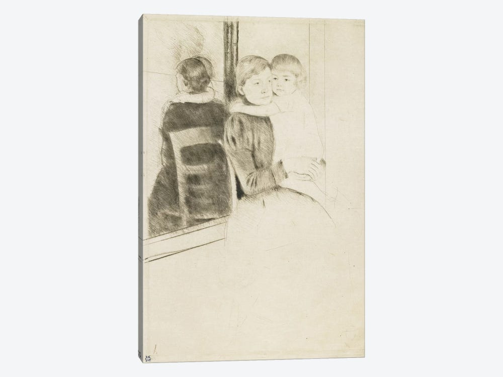 The Mirror, 1891 by Mary Stevenson Cassatt 1-piece Canvas Art