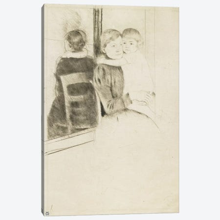 The Mirror, 1891 3-Piece Canvas #BMN8101} by Mary Stevenson Cassatt Canvas Print