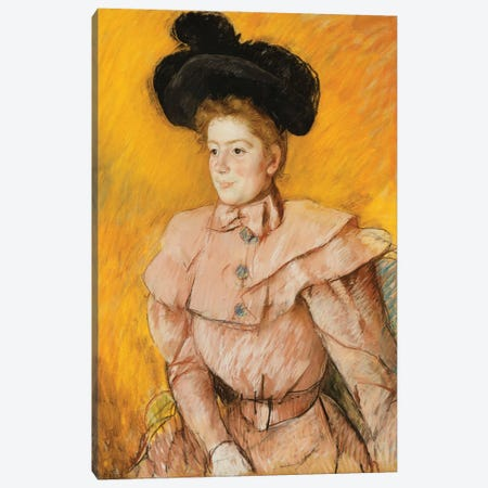 Woman In A Black Hat And A Raspberry Pink Costume, c.1899 Canvas Print #BMN8104} by Mary Stevenson Cassatt Canvas Art