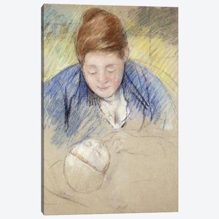 Woman Leaning Over Baby (Femme Se Penchant Sur Un Bebe), c.1907 Canvas Print #BMN8105} by Mary Stevenson Cassatt Canvas Wall Art