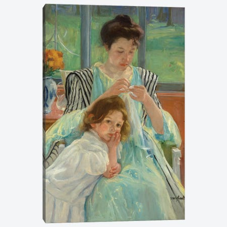 Young Mother Sewing, 1900 Canvas Print #BMN8108} by Mary Stevenson Cassatt Canvas Art Print