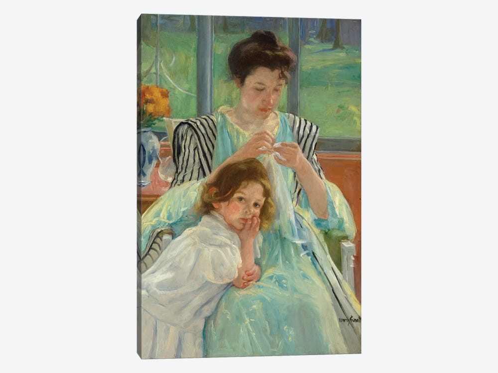 Young Mother Sewing, 1900 by Mary Stevenson Cassatt 1-piece Canvas Art Print