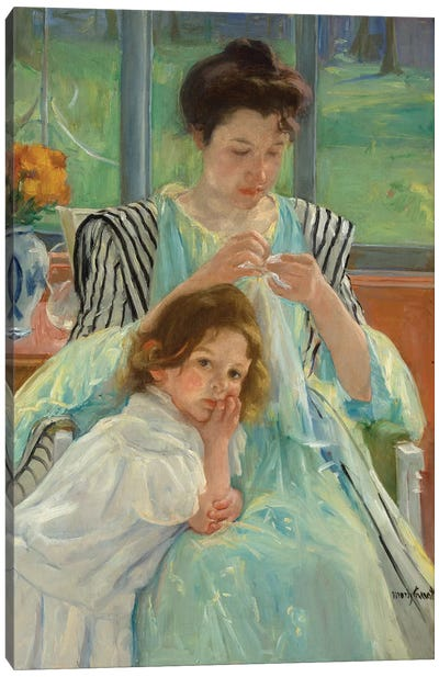 Young Mother Sewing, 1900 Canvas Art Print