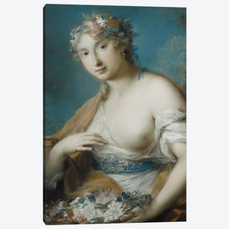 Flora, Half Length, Holding A Basket Of Flowers Canvas Print #BMN8117} by Rosalba Giovanna Carriera Art Print