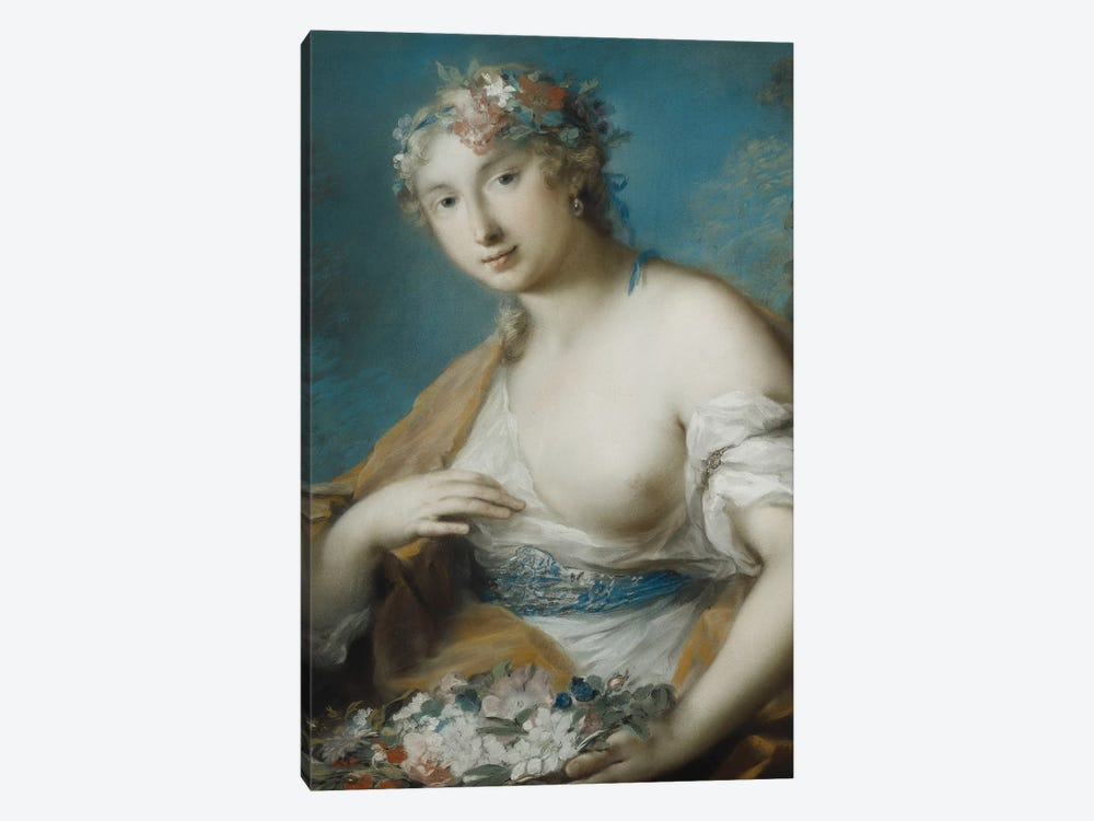 Flora, Half Length, Holding A Basket Of Flowers by Rosalba Giovanna Carriera 1-piece Canvas Art Print