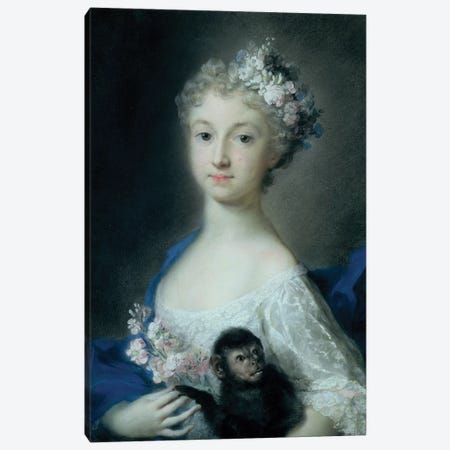 Girl Holding A Monkey Canvas Print #BMN8118} by Rosalba Giovanna Carriera Canvas Art