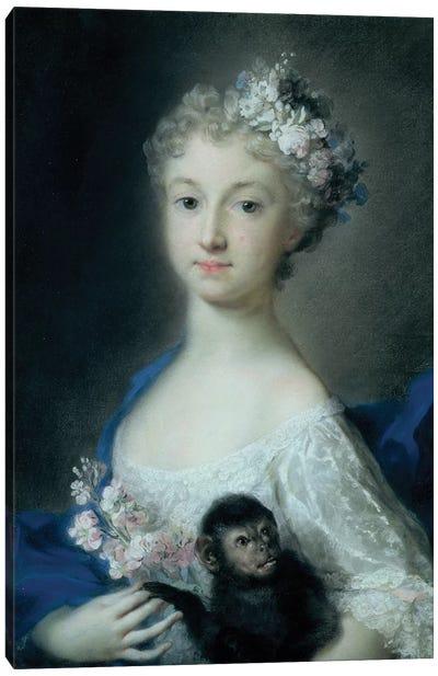 Girl Holding A Monkey Canvas Art Print