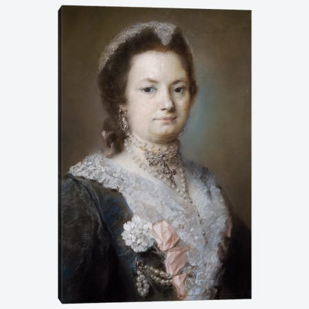 Portrait Of A Lady 3-Piece Canvas #BMN8122} by Rosalba Giovanna Carriera Canvas Print